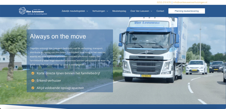 Website Van Leeuwen Verhuis- & Meubellogistiek
